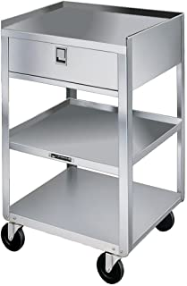 Lakeside 356 Stainless Steel Mobile Equipment Stand, Weight Capacity 300 lb, 1 Drawer, 3 Shelves, 16-3/4