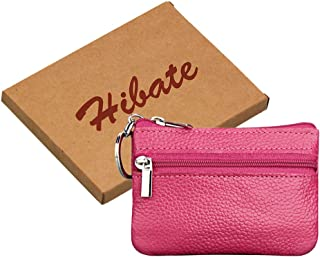 72a6d1045 Hibate Women's Mini Coin Purse Wallet Genuine Leather Zipper Pouch with Key  Ring - Pink