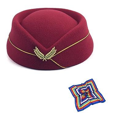 TDAICHAN Flight Attendant Hat for Women - Stewardess Hat, Pillbox Hat for Cosplay Party