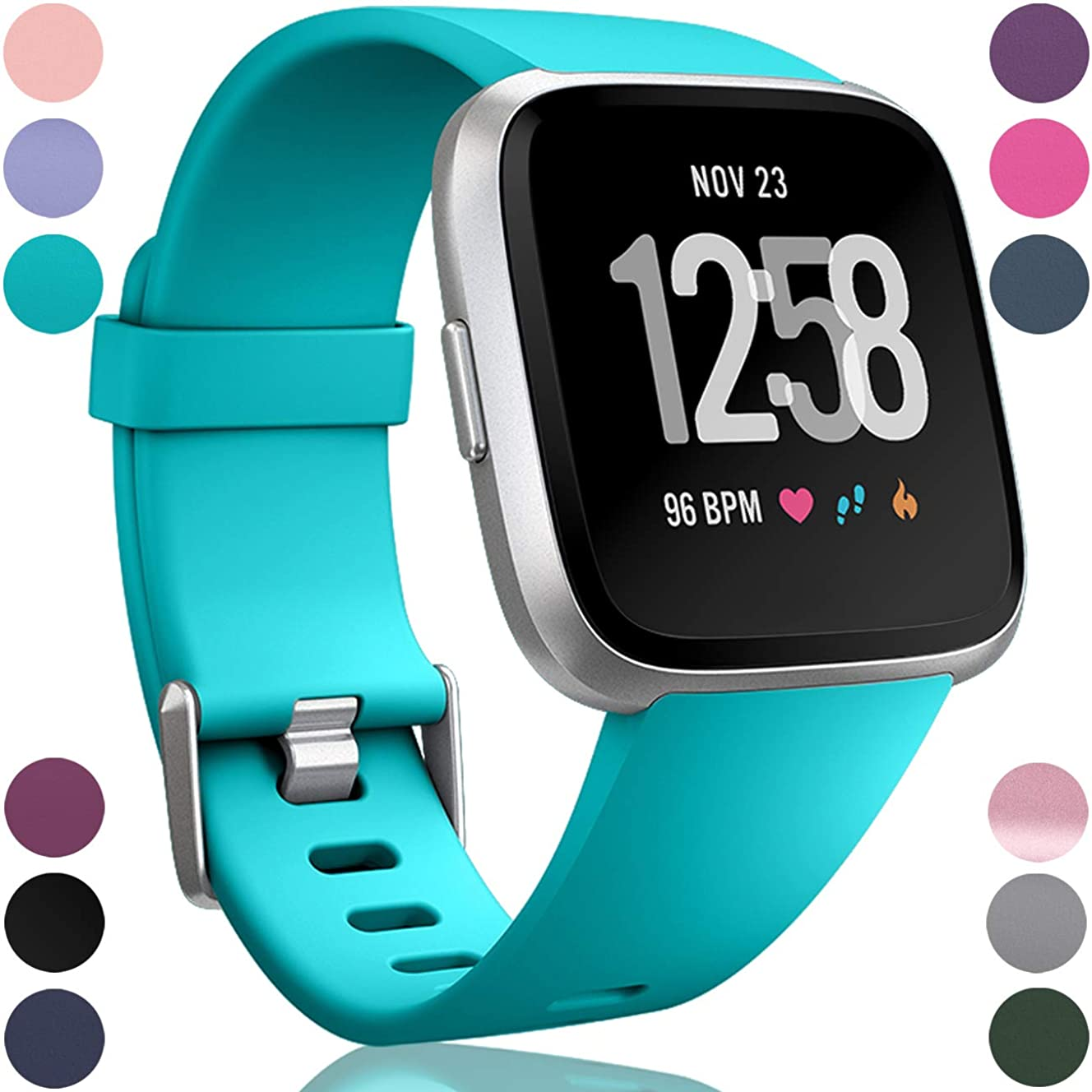 Wepro Bands Compatible with Fitbit Versa SmartWatch and Versa Lite SE Watch for Women Men, Small and Large, Multi Colors