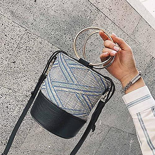 Bolso de mano con anillo de playa de verano para mujer, bolso de viaje popular para mujer, bolso de hombro de moda para mujer, bolso de mano tejido de paja a rayas tejidas, azul