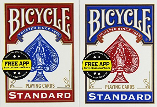 Bicycle Poker Size Standard Index Playing Cards (4-Pack) [Colors May Vary: Red, Blue or Black]