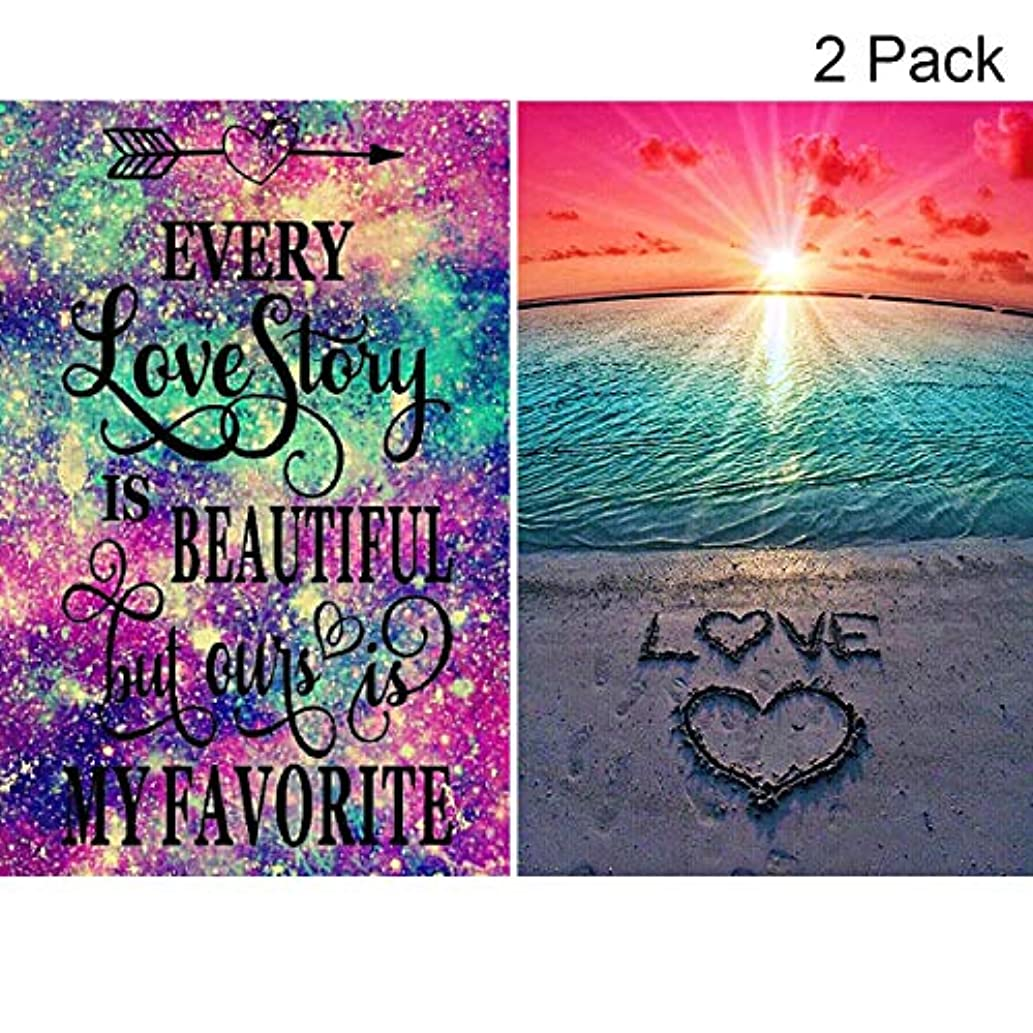 2 Pack 5D Full Drill Diamond Painting Kit, KISSBUTY DIY Diamond Rhinestone Painting Kits for Adults and Beginner Embroidery Arts Craft Home Decor, 15.8 X 11.8 Inch (Love Story and Beach Diamond Paint)