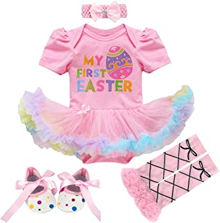 3pcs/4pcs Baby Girls 1st Easter Bunny Tutu Dress+Headband+Leggings Shoes Outfits Bodysuit Princess Costume