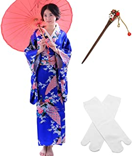 Japanese Anime Lolita Cherry Sakura Flower Printing Kimono Costumes Fancy Dress Hairpin tabi Socks Set(CHF007) Black
