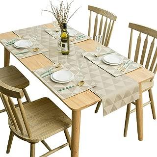 SUNLOVO Placemats Table Runner 5 pcs Set, Geometric Jacquard Triple Layer Heat Resistant Washable Table Mats Set (1pc Table Runner+4pcs Placemats, Tan, 14