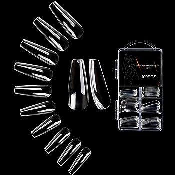 JASSINS Clear Long Coffin Nails Tips,100 PCS Fake Full Cover Ballet Nails False Acrylic Nail Tips 10 Sizes