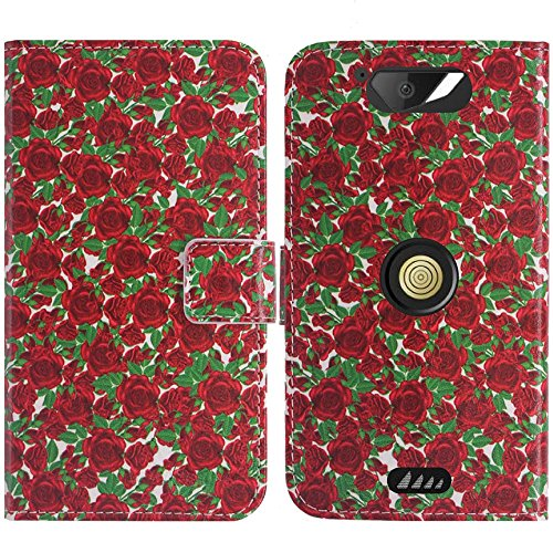 TienJueShi Rose Blume Flip Book-Style Brief Leder Tasche Schutz Hulle Handy Hülle Abdeckung Fall Wallet Cover Etui Skin Fur Crosscall Action x3 5 inch