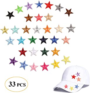 Mini Star Patches Iron On Appliques Sew On Badge Embroidered Logos with Mix Colorful Little Five Star Decals Decoration DIY for Bags, Shoes, Hats, Clothes(33 Pcs Little Star)