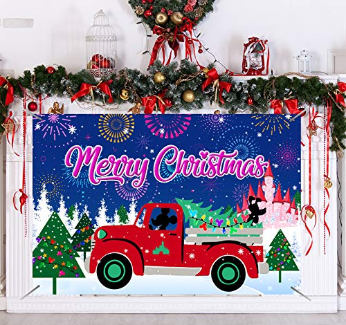 Merry Christmas Decorations-Christmas Party Themes Merry Christmas Backdrop,Merry Xmas Holiday Decoration Photo Booth Props Banner, Disney Christmas Banner,Christmas Party Photo Booth Props