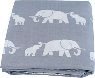 LifeTree Muslin Swaddle Blankets, Elephant Print Baby Blanket for Newborns, Baby Shower Gifts, 70% Bamboo 30% Cotton, 47 x 47 inches Breathable, Soft Receiving Blankets, Wrap, Boys or Girls