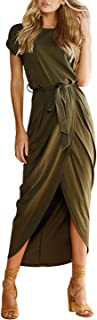 Yidarton Women's Casual Short Sleeve Slit Solid Party...