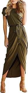 Yidarton Women's Casual Short Sleeve Slit Solid Party Summer Long Maxi Dress