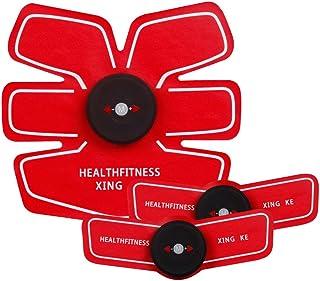 ABSトレーナーEMS筋肉刺激装置付きLCDディスプレイUSB充電式究極腹部刺激装置付きリズムソフトインパルス6モード9レベルポータブル (Color : Red, Size : A+2B)