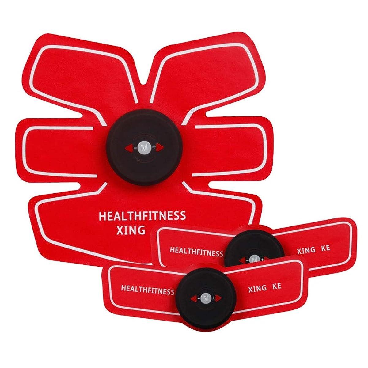 適切な土支援するABSトレーナーEMS筋肉刺激装置付きLCDディスプレイUSB充電式究極腹部刺激装置付きリズムソフトインパルス6モード9レベルポータブル (Color : Red, Size : A+2B)