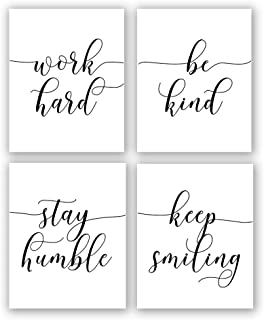 Inspirational Quote&Saying Art Painting,Work Hard,Be Kind,Stay Humble,Keep Smiling..