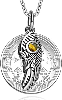 Archangel Uriel Sigil Amulet Magic Powers Angel Wing Charm Tiger Eye Pendant 18 Inch Necklace