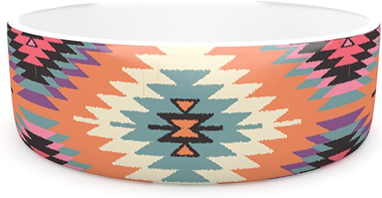 Kess InHouse Amanda Lane Navajo Dreams  Pet Bowl, 7Inch, orange Pink