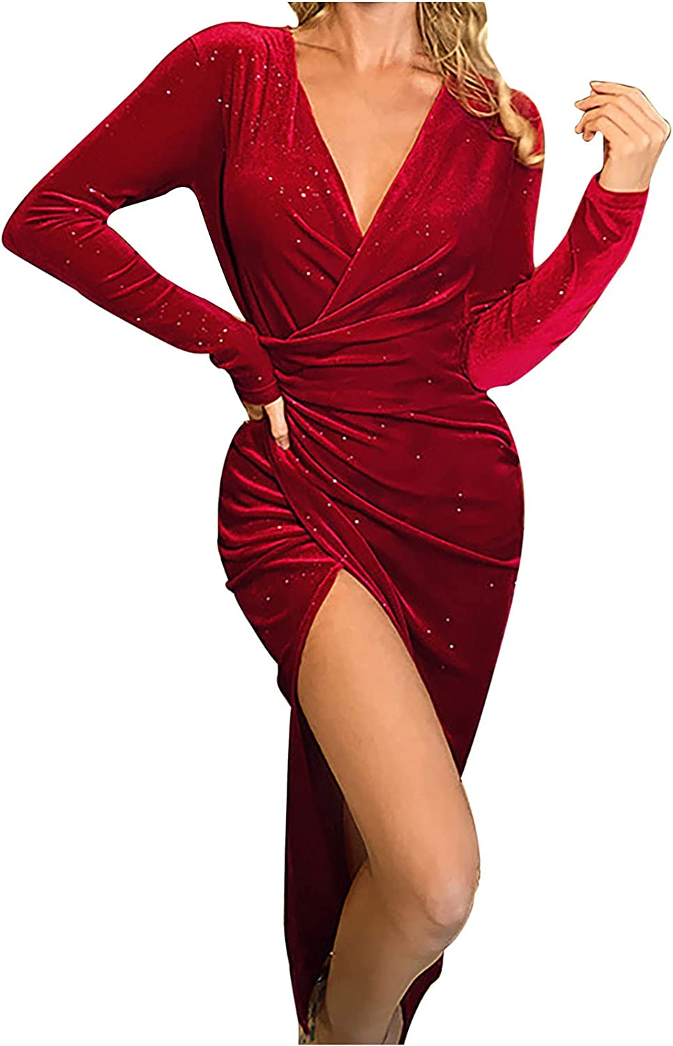 Sequin Dresses for Women Party Night Sexy V Neck Side Split Evening Dress Ruched Long-Sleeve Wrap Dress