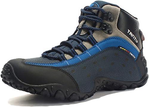 Nihiug Mens High Rise Randonnée Bottes Chaussures De Randonnée Montagne Vrai Cuir Escalade Extérieure Camping Chaussures