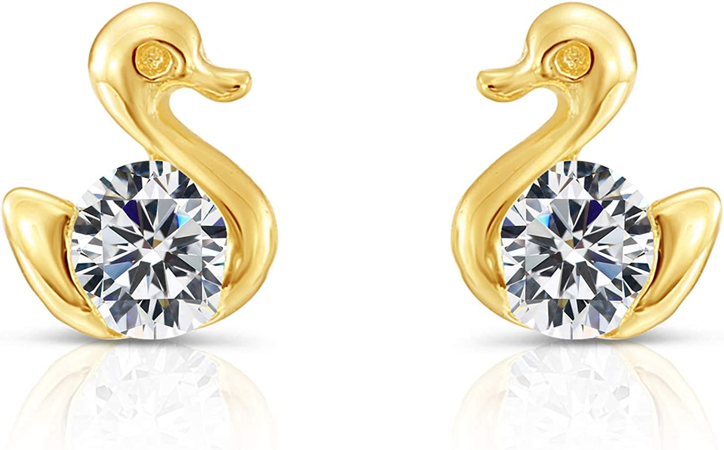 10k Yellow Gold Tiny Duck CZ Secure Screw-bac Earrings Stud Spring new work one after another Sale with