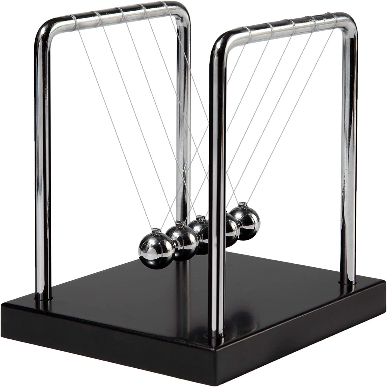 Newtons Cradle Balance Balls with Black Wooden Base Fun Science Physics Learning Desk Toys Fun Gadget 5 Pendulum Balls for Office and Home Decoration-Medium Wooden Black