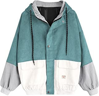 Women Teen Girls Vintage Long Sleeve Color Block Corduroy Hooded Jacket Coat Windbreaker