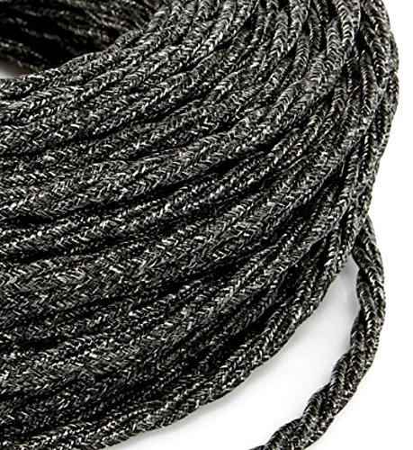 MeToo Design – Câble électrique tressé, style vintage, avec revêtement coloré en lin, toile et fil brut, section 2 x 0,75 mm², pour lustres, lampes, abat-jours, gris foncé - Produit fabriqué en Italie
