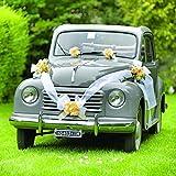 Brizzolari Kit decoración Coche Novios, con Lazos Amarillo y Cinta Blanca, Color, 004938_ 02