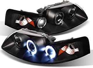 ACANII - For 1999-2004 Ford Mustang LED Halo Ring Black Housing Projector Headlights Headlamps, Driver & Passenger Side