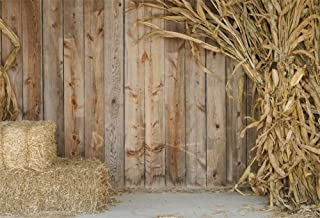 AOFOTO 8x6ft Farm House Backdrops Haymow Corn Stalks Wooden Plank Wall Photography Background for Family Events Friends Gathering Video Displays TV Film Production Portrait Photo Booth Prop