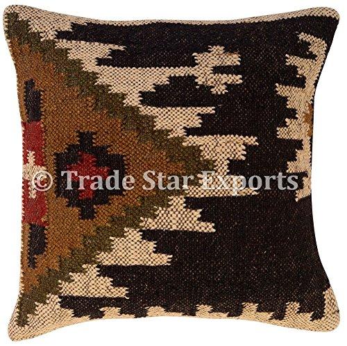 Tradestar Kilim - Funda de almohada (18 x 18, cojines hechos a mano, almohada Kelim, funda de cojín de yute indio, funda de almohada vintage, cojín cuadrado étnico