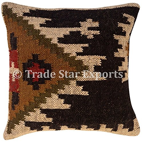 Trade Star Indian Jute Cushion Cover, Handwoven Rug Pillow, Kilim Pillow Cover 18x18, Boho Home Decor, Vintage Pillow Case, Oriental Cushion Cover, Decorative Throw Pillows (Pattern 11)