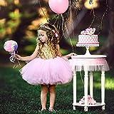 Hinmay - Vestido de princesa de encaje para niños, sin espalda, sin mangas, con lentejuelas (90 cm, rosa)