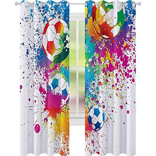 Genomföring mörkläggningsgardiner, färgade stänk över hela fotbollsbollarna poäng VM mästerskap Atletiskt konstfullt tryck, B 52 x L63 Mörkläggningsgardin för barns sovrum, multi