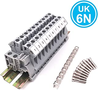 Erayco Assembly UK6N 10 Gang DIN Rail Terminal Blocks Kit with Fixed Bridge, 6 mm², 24-8 AWG, 50 Amp, 600 Volt