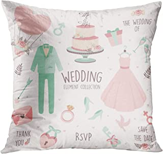 Peyqigo Throw Pillow Cover 20x20 Inch Hand Drawn Doodle Love Wedding Icon Polyester Square Cushion Bedroom Couch Sofa Car Decorative Pillowcase