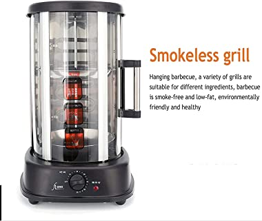 ZRSLGS Vertical Rotisserie Kebab Grill 4 in 1 Electric Smokeless BBQ Grill Kitchen Doner Chicken Gyros Barbecue Cookware