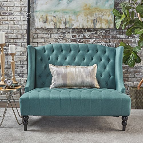 GDFStudio Leona Contemporary Tufted Fabric Wingback Loveseat, Dark Teal and Dark Brown
