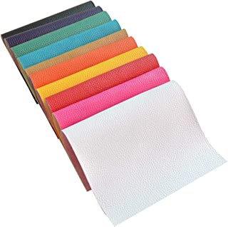 10 Pieces A4 Size 1.6MM Thick Solid Color Litchi Grain Texture Faux Leather Fabric Sheets Cotton Back for Hair Bows Making, Hair Clips Making, Headband Making,10 Colors Each Color one Sheet