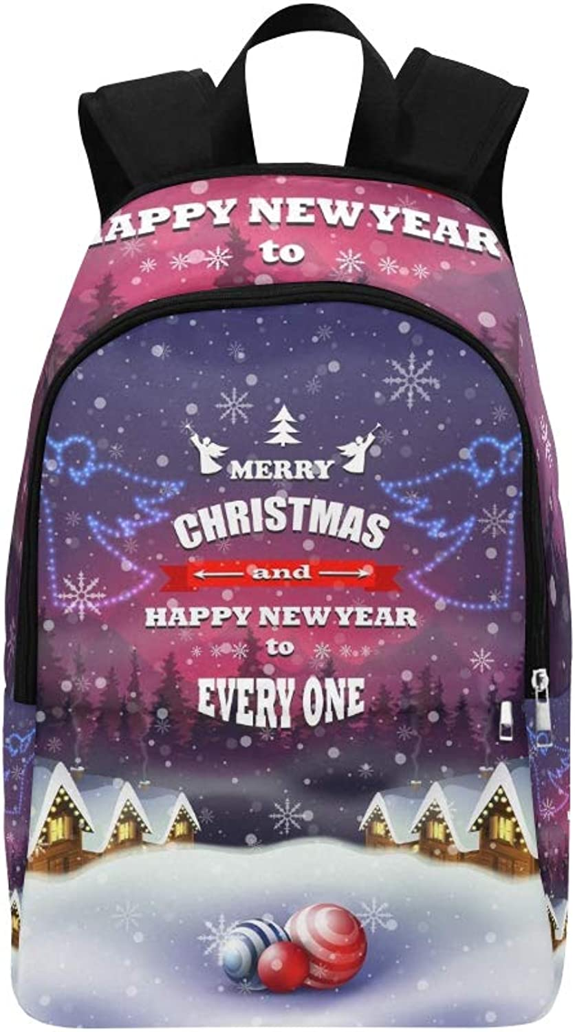 Christmas Greeting Card Rural Street Old Casual Daypack Travel Bag College School Backpack for Mens and Women