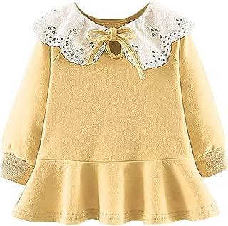 Toddler Baby Girls T Shirt Dress Long Sleeve Lace Hollow Neck Ruffle Casual Peplum Dresses Princess Clothes