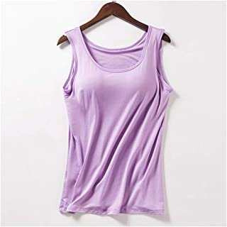 Elegant-Store-A Padded Bra Women Modal Spaghetti Solid Cami Top Vest Camisole with Built in Bra Fitness Clothing