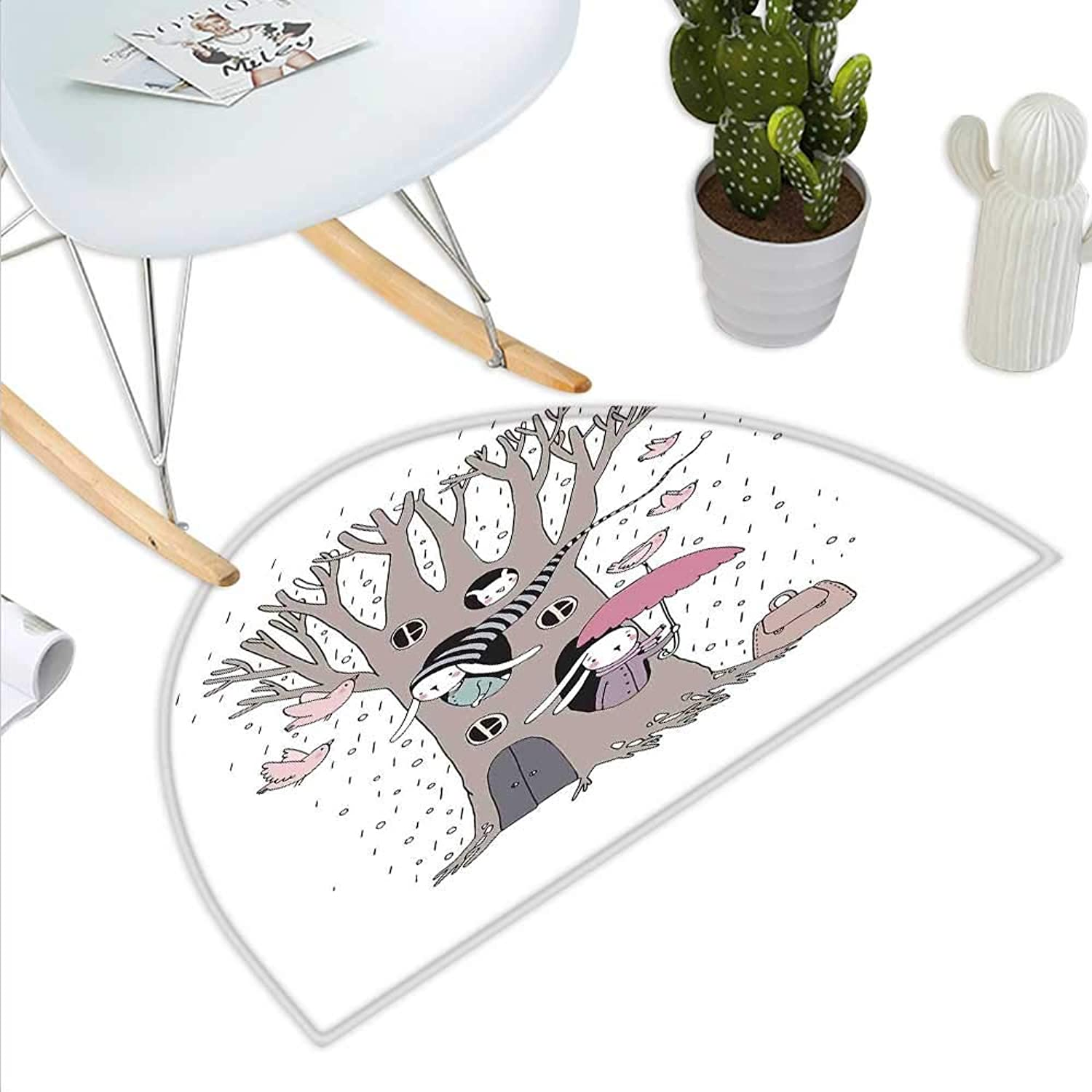 Tree Semicircle Doormat Bunny Family Living Inside The Hollows of a Tree Rainy Weather Flying Pink Birds Halfmoon doormats H 43.3  xD 64.9  Taupe Pale Pink