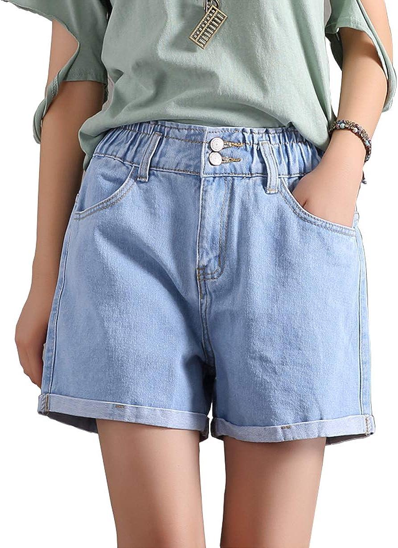 chouaytou Women's Summer Essential Elastic Waist Folded Hem Comfy Denim Shorts