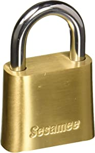 Sesamee 436 4-Dial Bottom Resettable Combination Brass Padlock with 1-Inch Hardened Steel Shackle and 10000 Potential Combinations