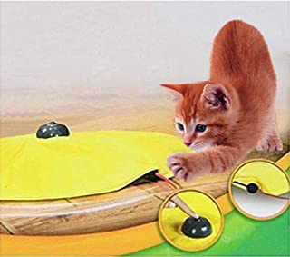 Yosoo 4 Speeds Cat Toy Undercover Mouse Fabric Interactive Electronic Kitten Pet Play W/ Yellow Shirt(3 AAA Batteries not Included)
