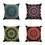Jartinle Set of 4 Retro Floral Mandala Compass Medallion Bohemian Boho Style Summer Decor Cushion Case Decorative for Sofa Couch 18' x 18' Inch Cotton Line (Mandala Pattern)