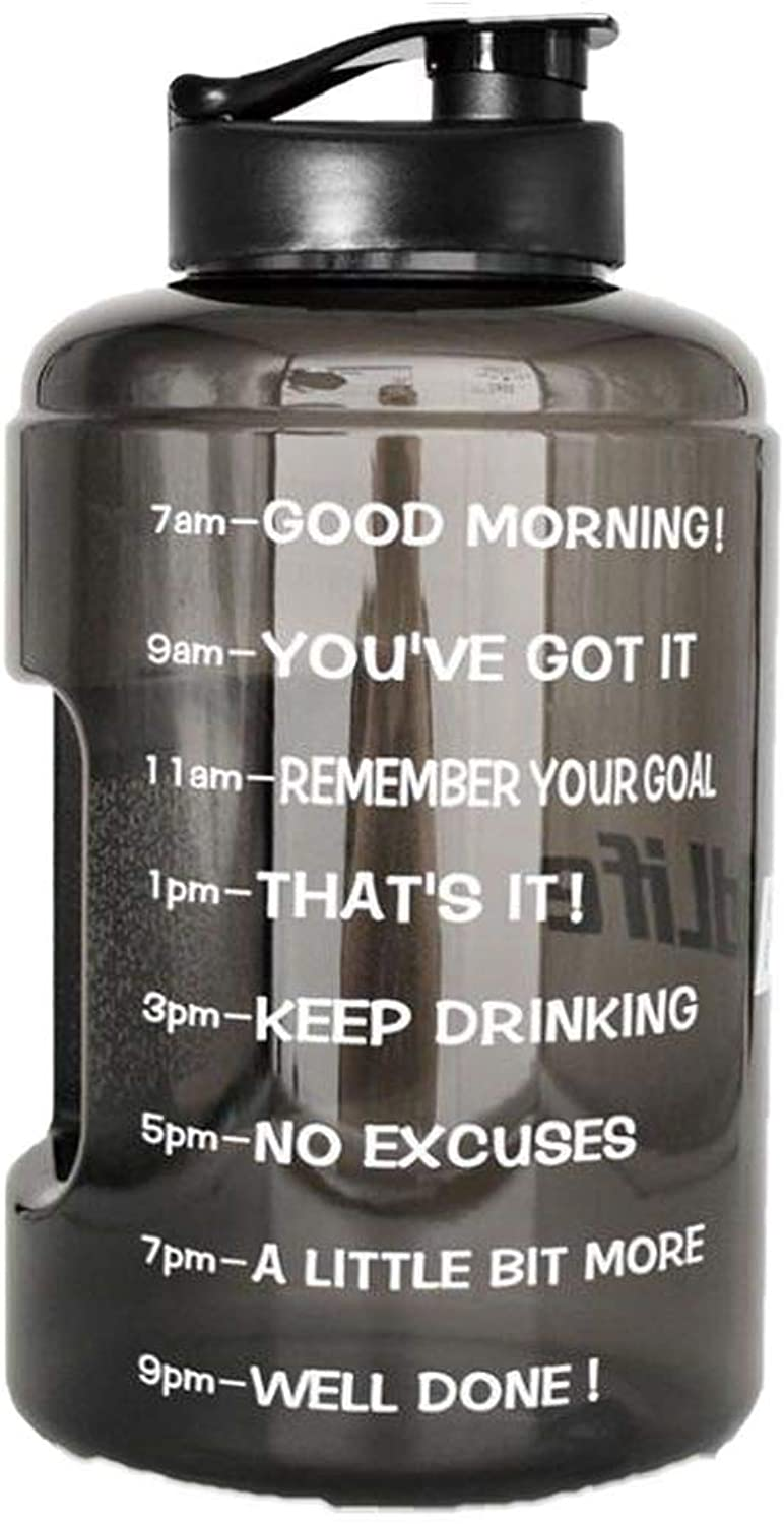 1 Gallon Petg Plastic Wide Mouth Large Capacity Bpa Free Training Drinking Gallon Water Bottle with Timemarkline,128oz Bottle,Midnight Black