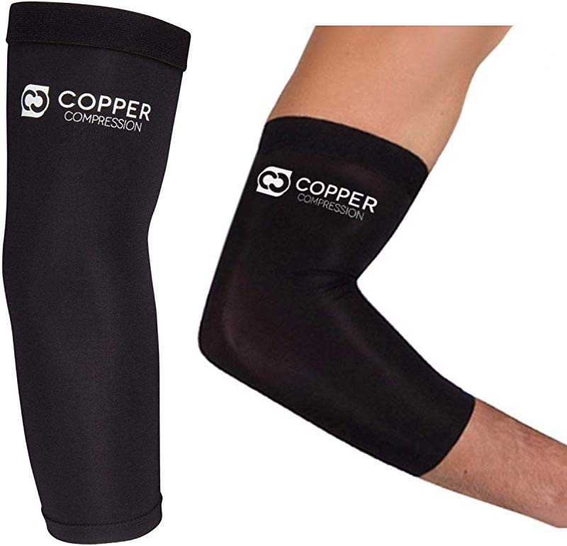 Copper Compression Recovery Elbow Sleeve Highest Copper Content Elbow Brace For Tendonitis Golfers Elbow Tennis Elbow Arthritis Copper Infused Fit Elbow Support Arm Sleeves Men Women Braces